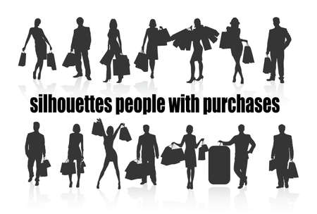 on the image silhouettes of people with purchases are presented Vector
