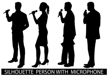 conference speaker: on the image are presented a silhouette of people with a microphone Illustration