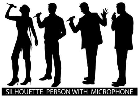 on the image are presented a silhouette of people with a microphone Stock Vector - 17157214