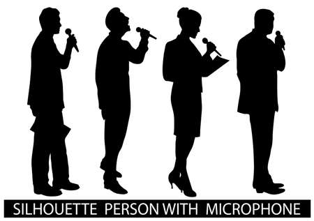 public speaker: on the image are presented a silhouette of people with a microphone Illustration