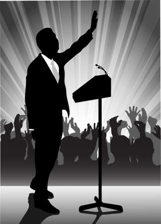 on the image the politician before a microphone is presented Stock Vector - 17204774