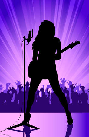 rock musician on a scene Stock Vector - 17224621