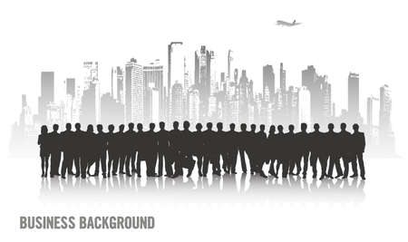 megalopolis: on the image the group of businessmen against the megalopolis is presented Illustration