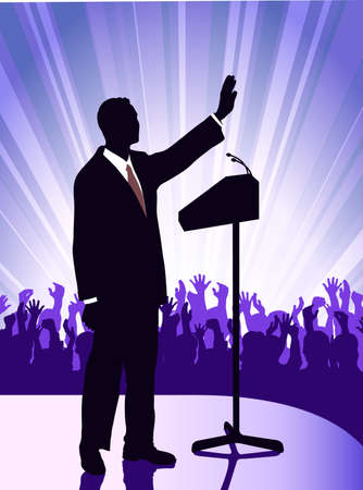 public speaking: person before a microphone