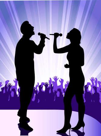 cantante en el micrófono