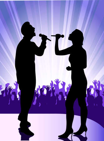 person shined: singer at the microphone Illustration