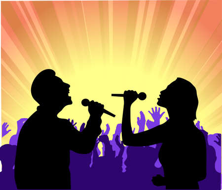 performers on a scene Vector