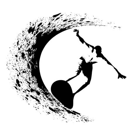 surfer silhouette: Surfer silhouette on grunge background Illustration