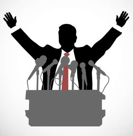 hablar en publico: persona ante un micrófono Vectores