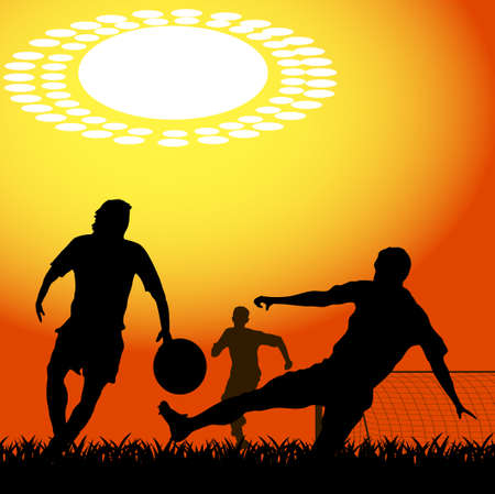 silhouettes of players in soccer Vector