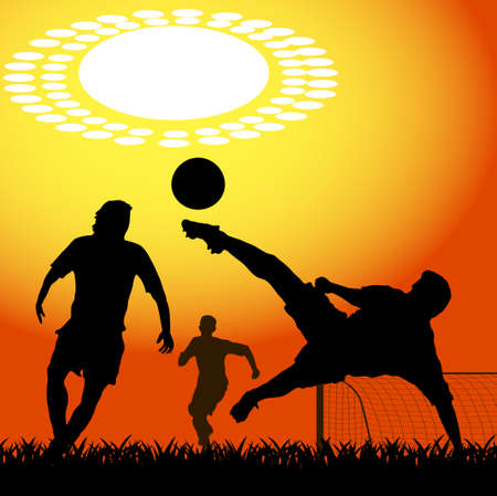 soccer pass: silhouettes of players in soccer