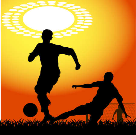 silhouettes of players in soccer Stock Vector - 17477567