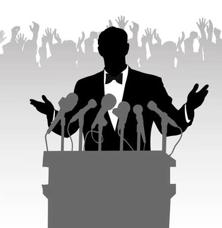 conventions: person before a microphone