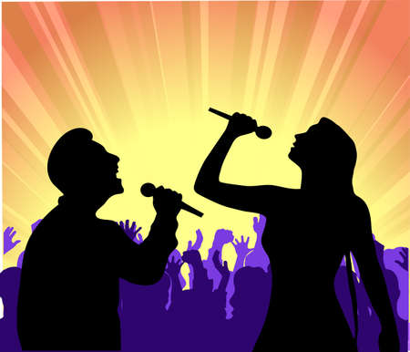 soloists before public Stock Vector - 17593032