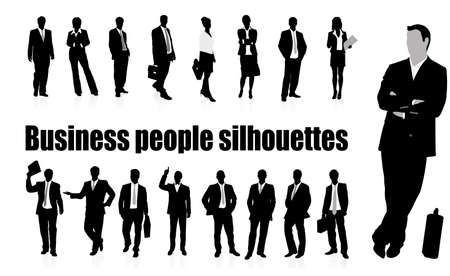 business women: silhouettes of businessmen