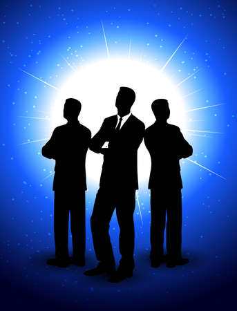 silhouettes of businessmen against the sun Vector