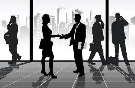 staff meeting: meeting of businessmen Illustration