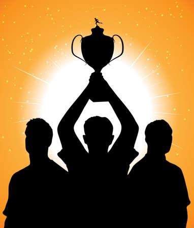 football trophy: silhouettes of champions Illustration
