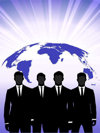 silhouettes of businessmen against a planet Stock Vector - 17711945