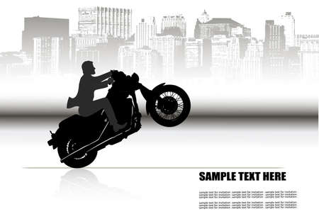 a man on a motorcycle on the background of the city