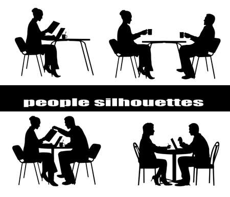 sales meeting: silhouettes of businessmen