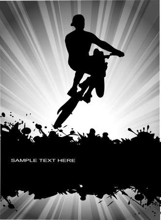 dirt bike: velobayker on grunge background Illustration