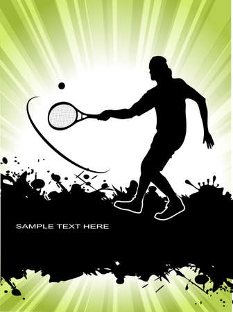 tennis player on grunge background Vector