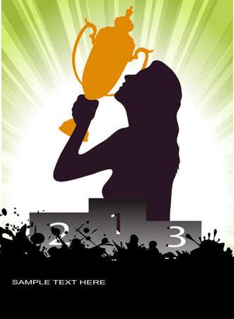 scalable: Winner girl on grunge background