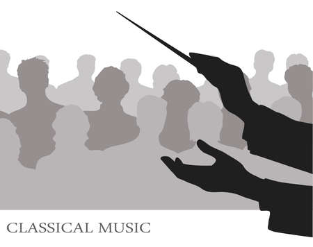 orchestra: conductor before public