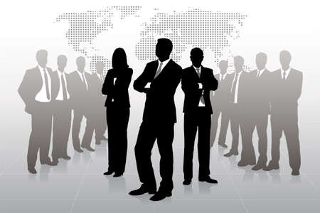 silhouettes of businessmen against a planet