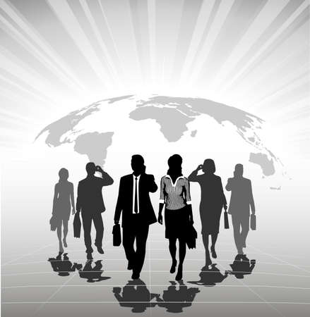 advance: silhouettes of businessmen against a planet