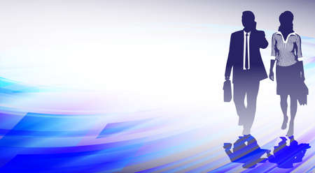 computer banner: silhouettes of businessmen on an abstract background Illustration