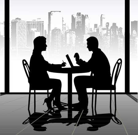 negocios comida: en las siluetas de la imagen de hombres de negocios en una tabla se presentan