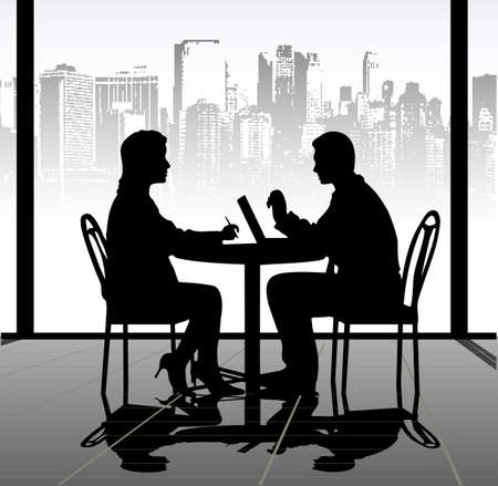 on the image silhouettes of businessmen at a table are presented Vector