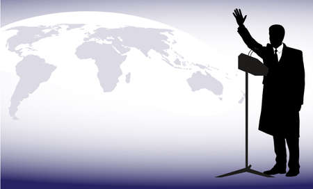 politician before a microphone against a planet Illustration