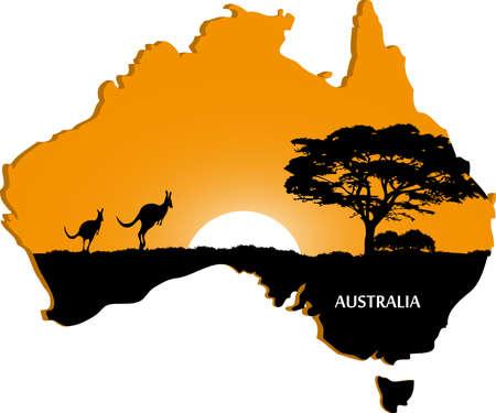 australie landschap: Australische continent Stock Illustratie