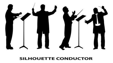 orquesta: silueta del conductor Vectores