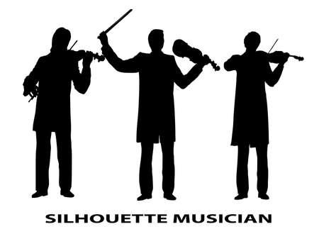 silhouette violinist Иллюстрация