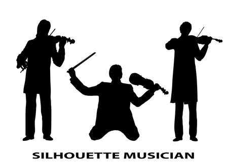 musician silhouette: silhouette violinist Illustration