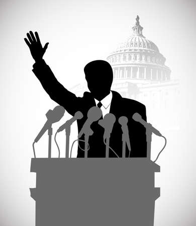 on the image the politician addressing public is presented Vector
