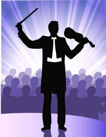 musician before public Stock Vector - 18082024