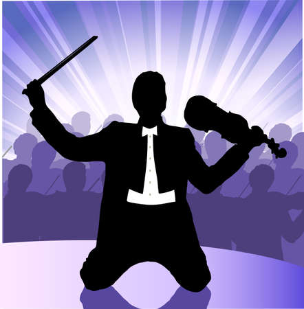 musician before public Stock Vector - 18082052