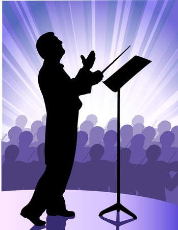 dirigent voor het publiek Vector Illustratie