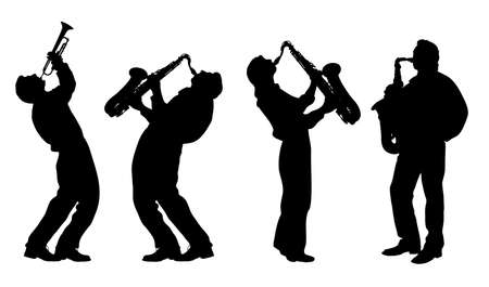 m�sico: silueta del m�sico de jazz Vectores