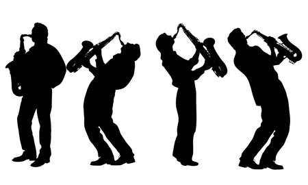 jazz men: silhouette of jazz musician