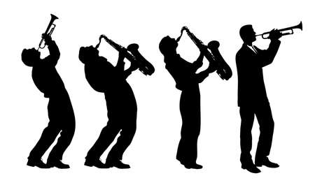 silhouette of jazz musician Vector