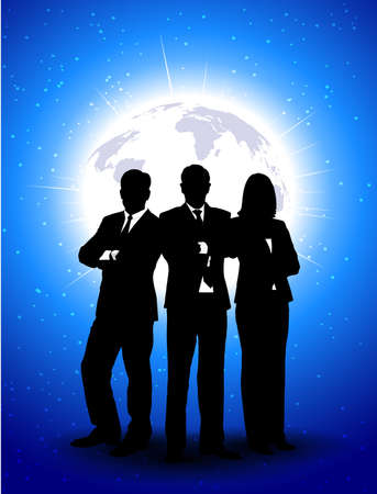 silhouettes of businessmen against a planet Stock Vector - 18098342