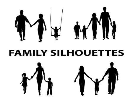 silueta niño: silueta de un grupo familiar