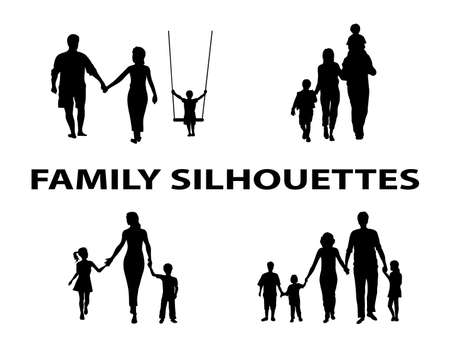 silhouette of family group Vector