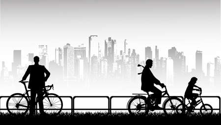 walk by bicycle a vector background Vector